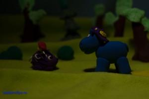 Бегемотик Жора и Ежик с грибом