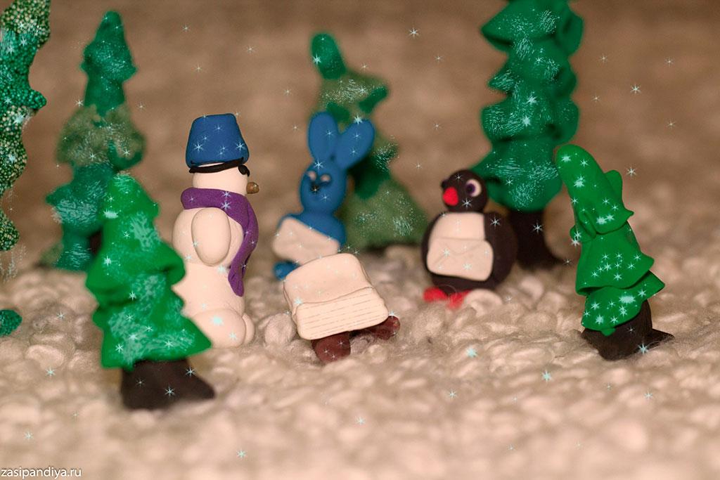 Снеговик на солнечной полянке